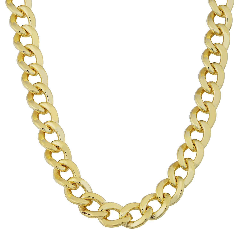 Kooljewelry Mens 14k Yellow Gold Filled 9 mm High Polish Miami Cuban Curb  Link Chain Necklace.