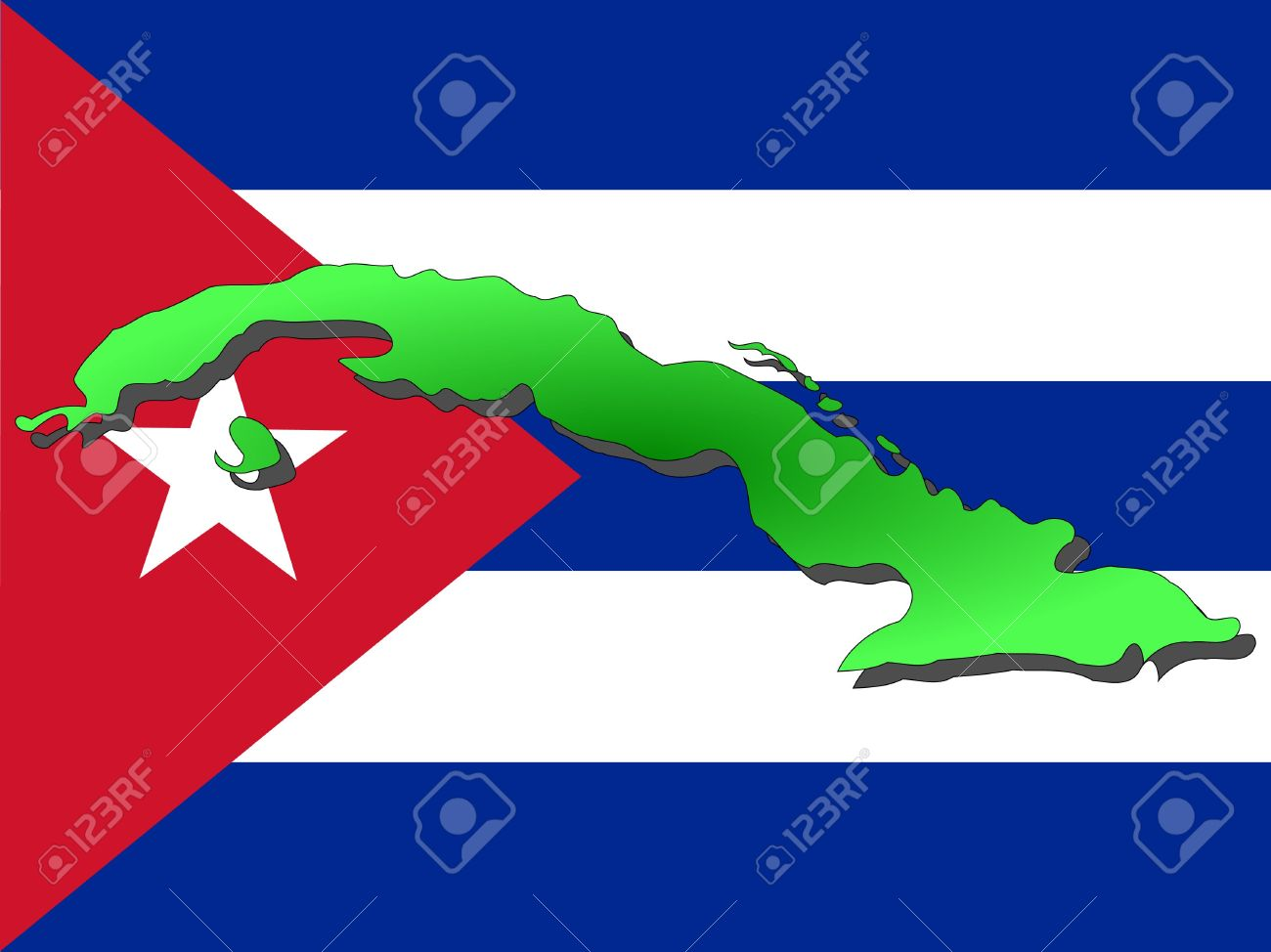 Map Of Cuba And Cuban Flag Illustration Stock Photo, Picture And.