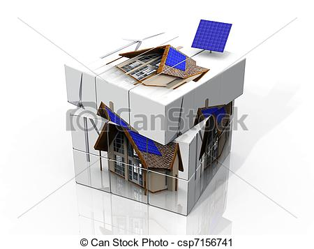 Clipart of Rubik's cube of a house with solar panels.
