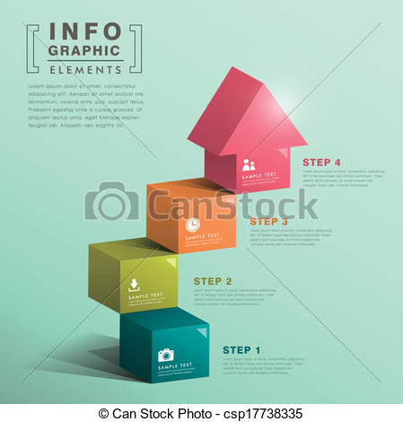 Vectors of abstract cube stair with house infographics.