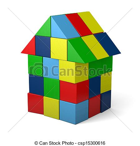 Clipart of Toy house made of cubes.