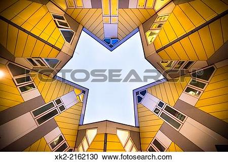 Stock Photography of Cube Houses view from below by architect.