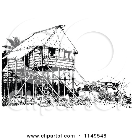 Retro Vintage Black and White Stilt House Posters, Art Prints by.
