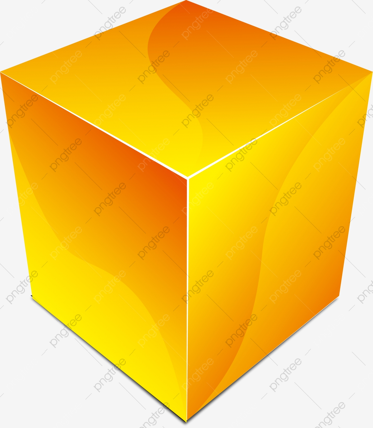 Yellow Cube Graphics, Geometric Cubic, Geometric Figure, Cube PNG.