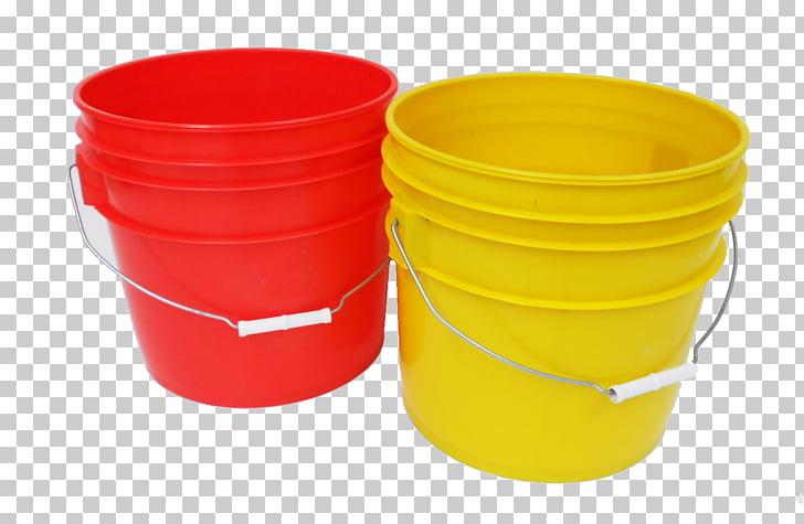 Cubeta plastica portatil graficos red amarillo litro, cubeta PNG.