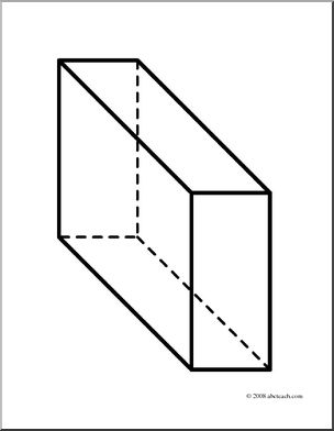Clip Art: 3D Solids: Rectangular Prism (coloring page).