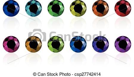 Vector Clip Art of synthetic diamond set.