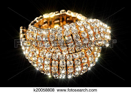 Pictures of Gold Bracelet with Cubic Zirconia (CZ) on Black.