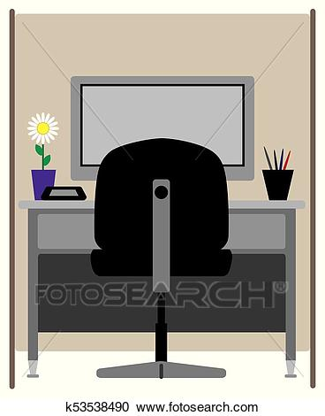 Empty Office Cubicle Clipart.