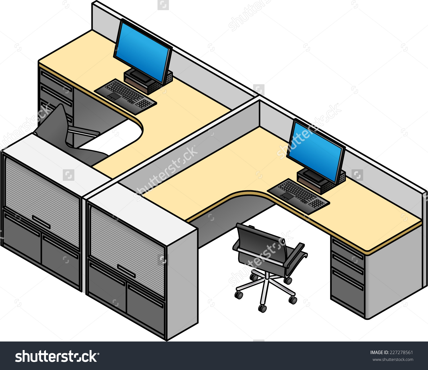 Office Cubicles Twin Configuration Drawer Units Stock Vector.