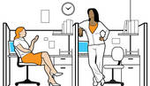 Stock Illustration of An office scene with people in cubicles.