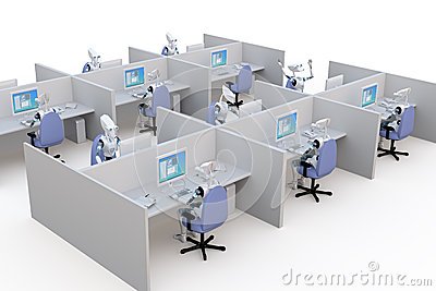 Cubicles Stock Illustrations.
