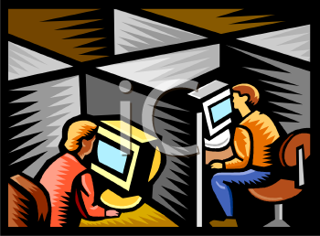 Royalty Free Clipart Image: Office Workers Sitting in Cubicles.