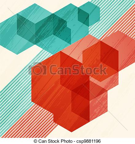 Clip Art Vector of Abstract background. Cubism csp9881196.