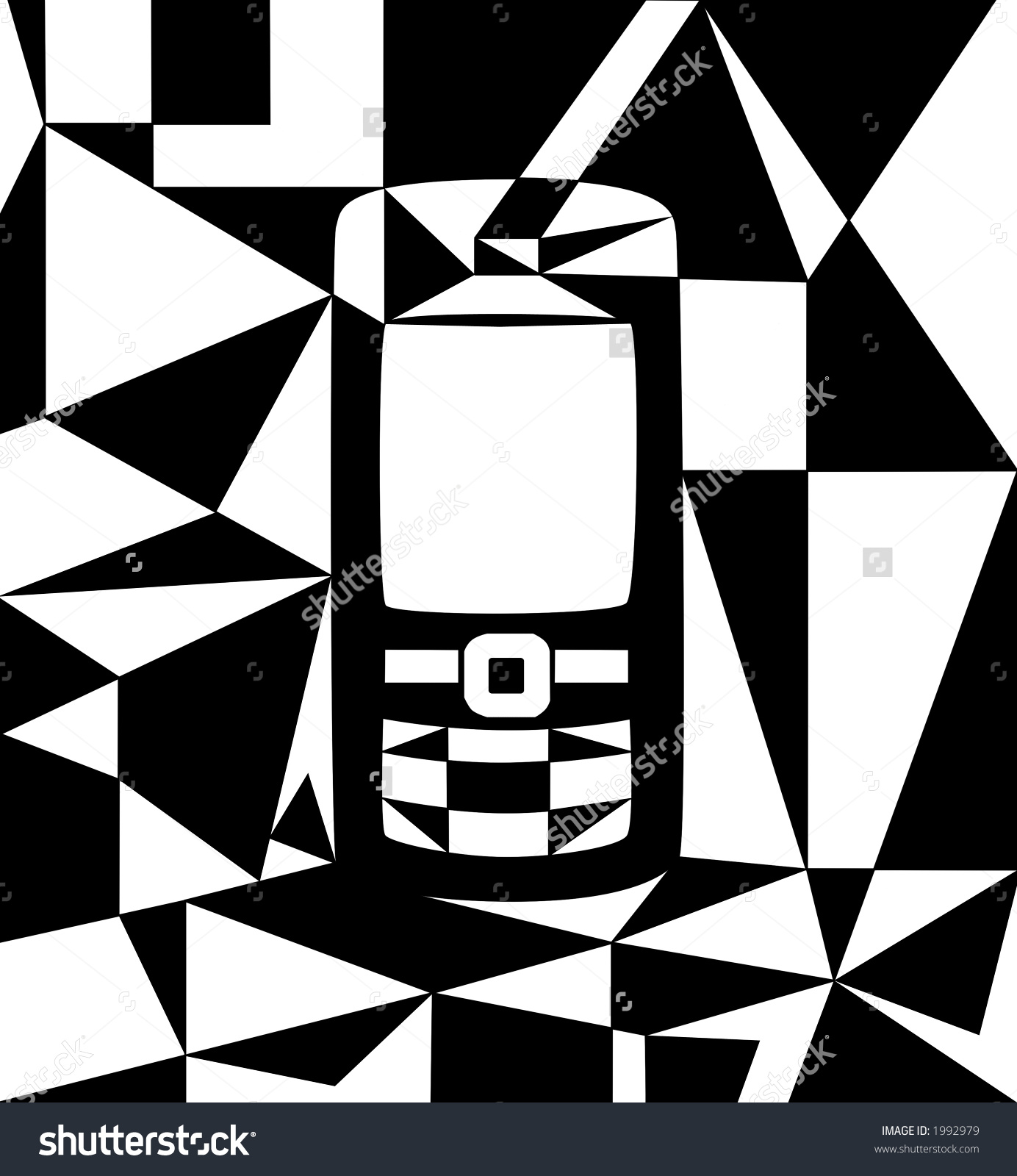 Abstract Phone Illustration Cubist Style Black Stock Illustration.