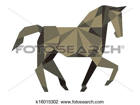 Clipart of Cubist Horse k16015302.