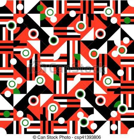 Vector Clipart of Red black white green cubist tile.
