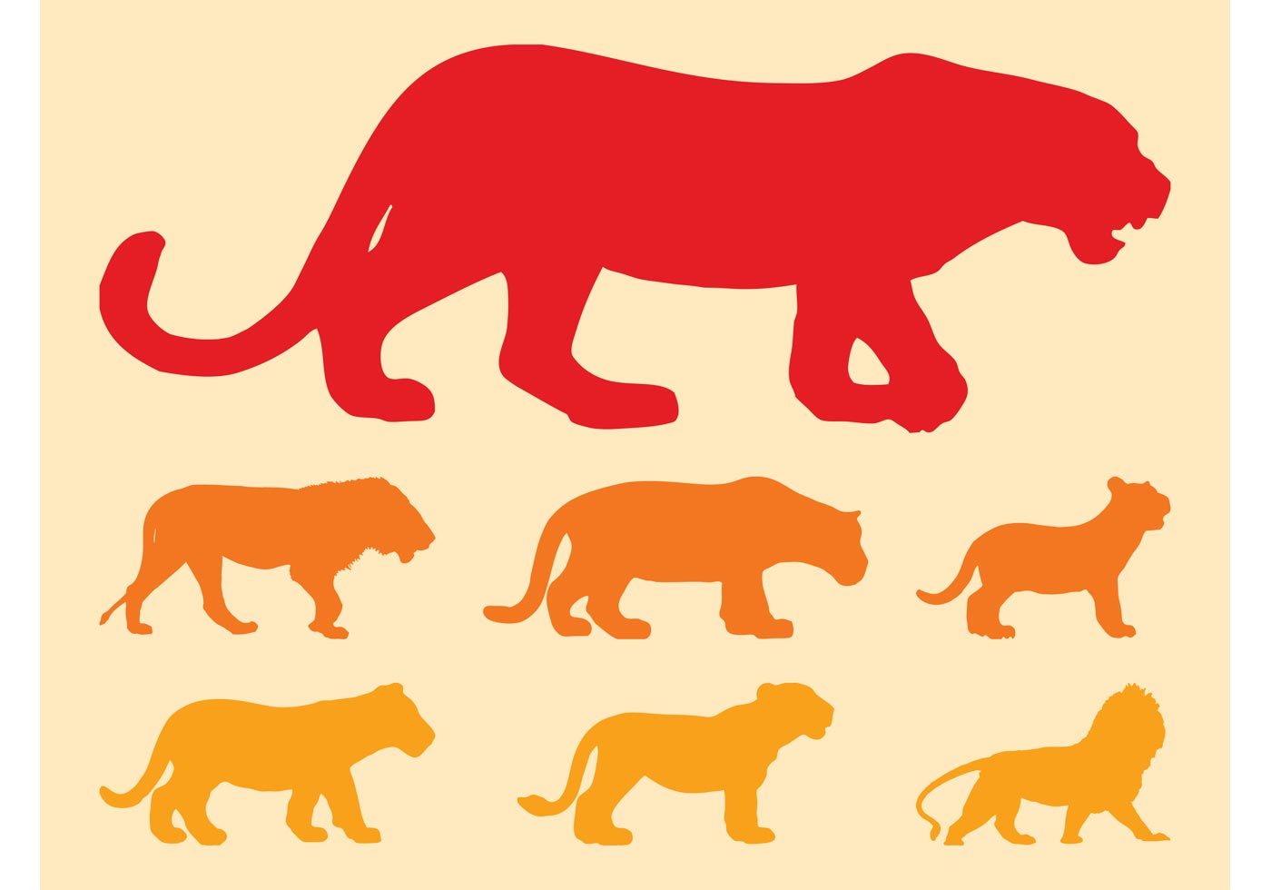 Big Cats Silhouettes.