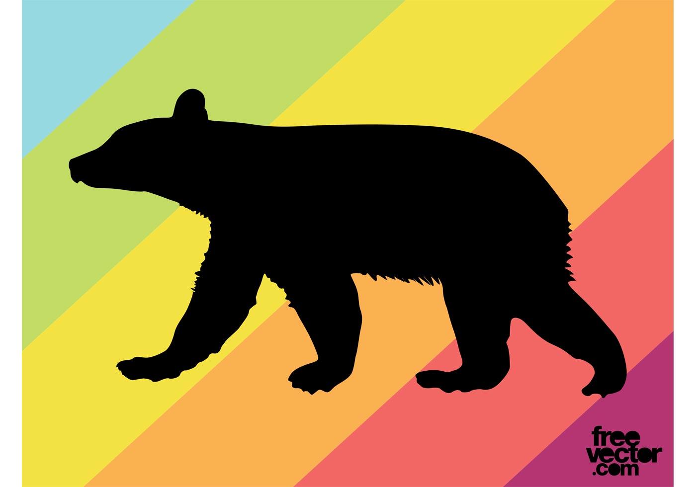 Bear Silhouette Free Vector Art.