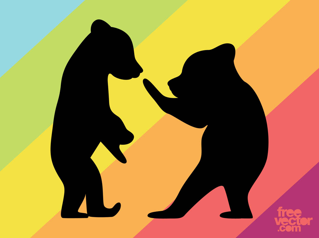 Bear Cubs Silhouettes Vector Art & Graphics.