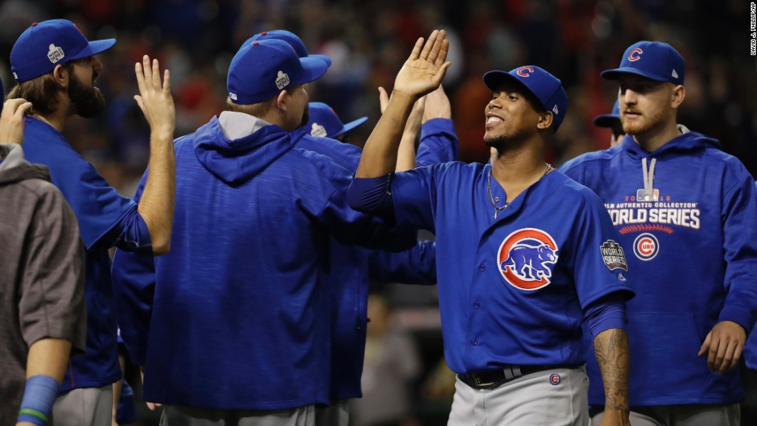 Chicago Cubs level World Series, first Fall Classic win since 1945.