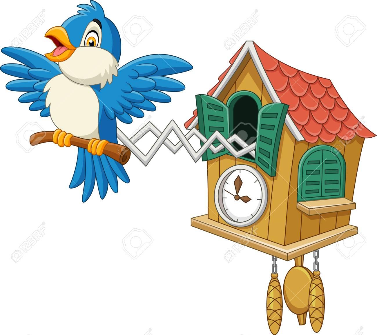 Vector illustration of Cuckoo clock with blue bird chirping.