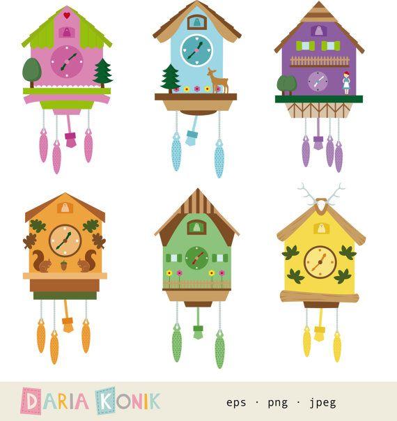 Cuckoo Clocks Clip Art Set.