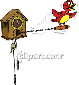 Fashioned Cuckoo Clock Royalty Free Clipart Picture.