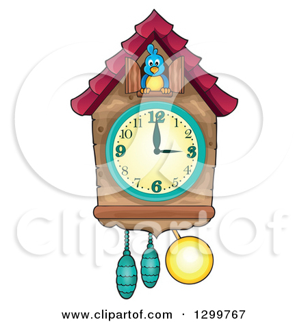 Clipart of a Bird in a Cuckoo Clock.