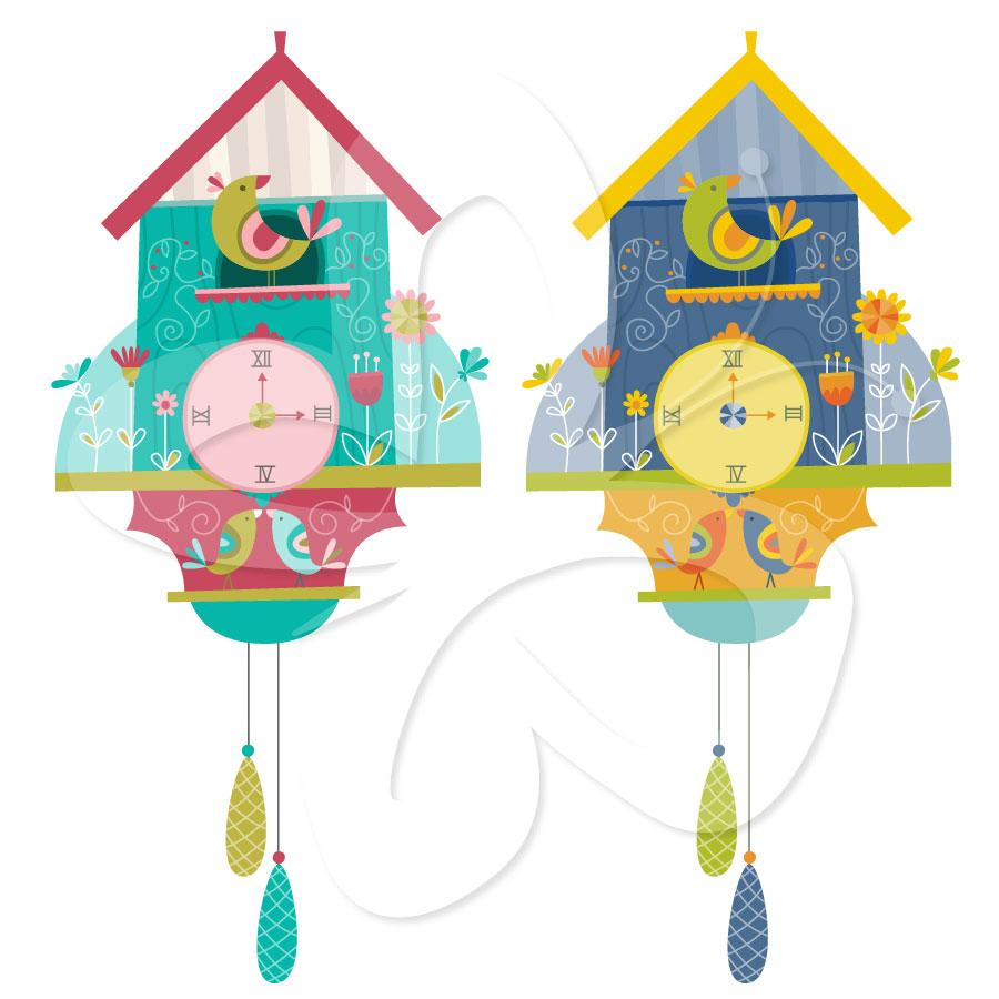 Cuckoo Clock Clipart Set.