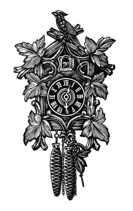 vintage clock clip art, black and white clipart, cuckoo clock.