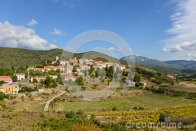 Cucugnan Avsmall Village In The Corbieres In France Stock Images.