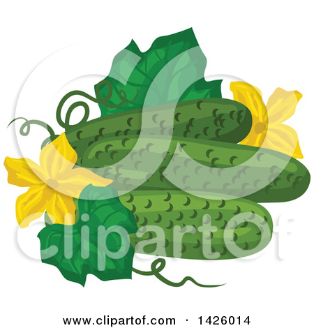Clipart of Cartoon Happy Cucumber, Beet, Kohlrabi, Daikon Radish.