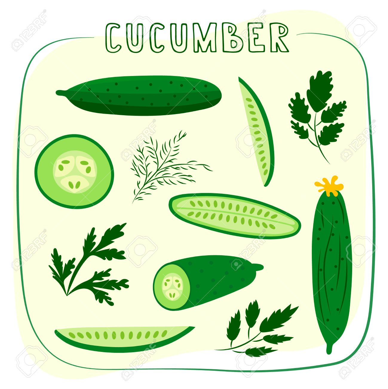 Set Of Ripe Cucumbers Made In Flat Style. Great For Design Of.