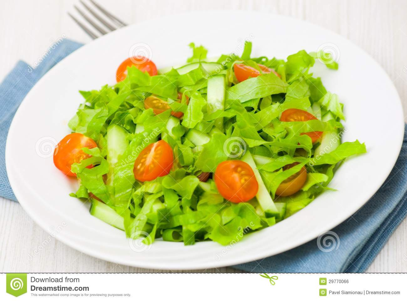 Fresh Cucumber And Tomato Salad Royalty Free Stock Image.