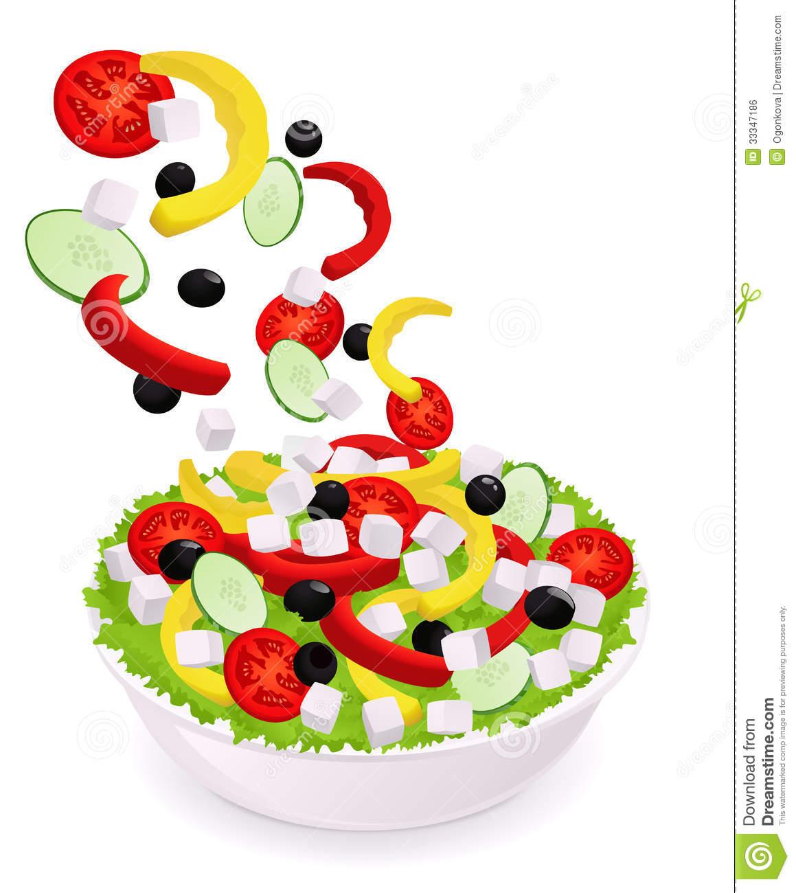 Greek Vegetable Salad. Falling Ingredients Royalty Free Stock.