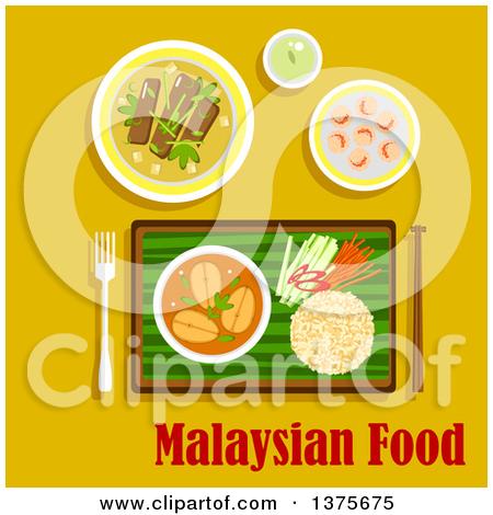 Clipart of a Flat Design Malaysian Cuisine Dinner with Nasi Lemak.