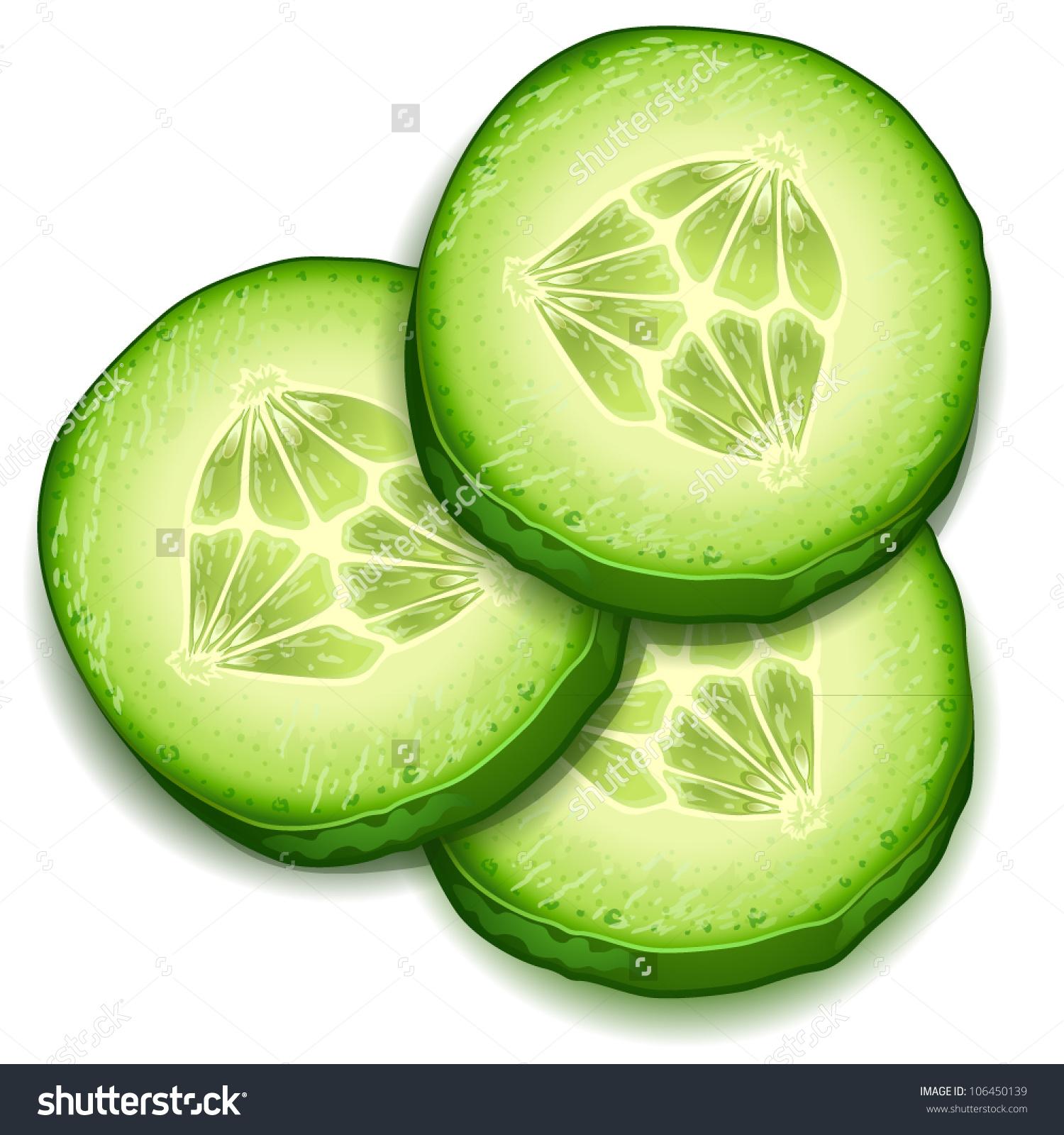 Cucumber slice clip art.