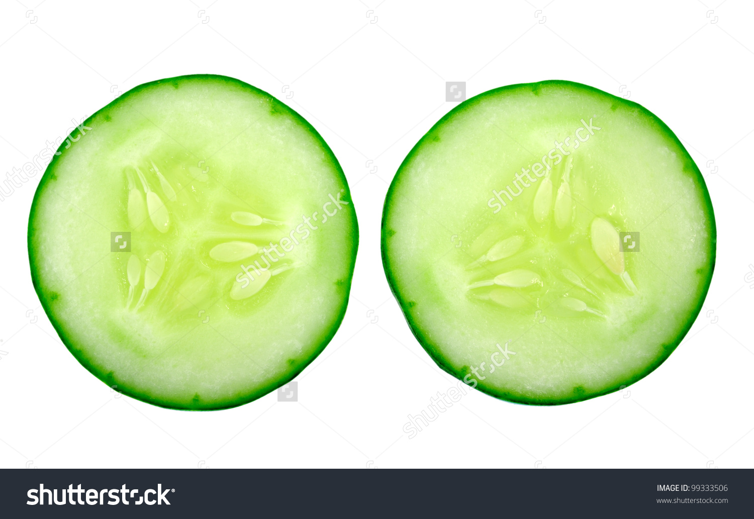 Fresh Cucumber Slice Isolated On White Stock Photo 99333506.