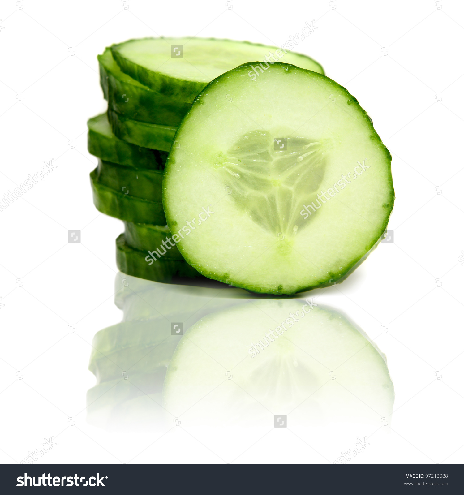 Stack Green Cucumber Slices Reflection Isolated Stock Photo.