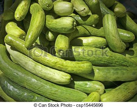 Stock Photographs of Cucumis sativus, Cucumbers at street market.