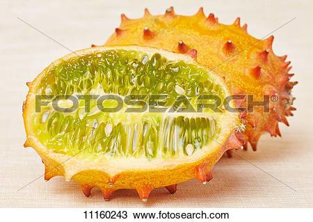 Stock Photo of A horned melon cut lengthways (cucumis metuliferus.