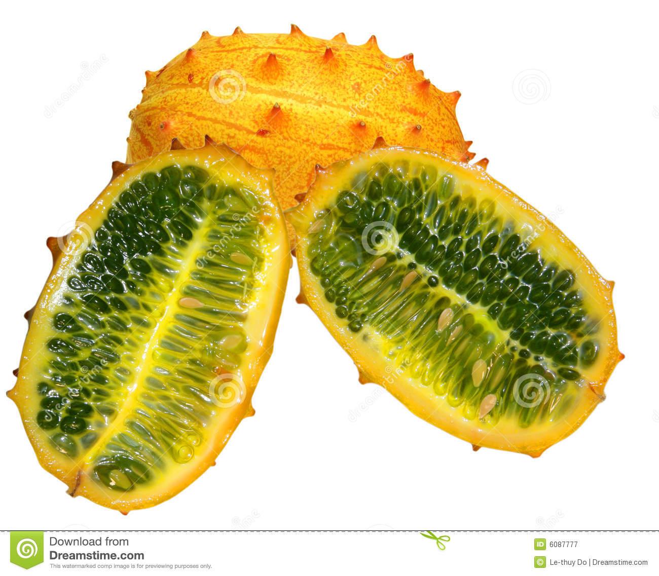 Melano, Kiwano, Or Horned Melon Stock Photo.
