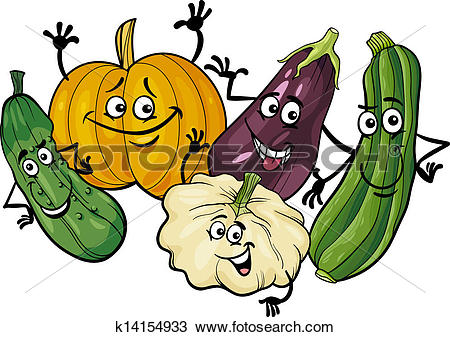 Clipart of cucurbit vegetables group cartoon illustration.