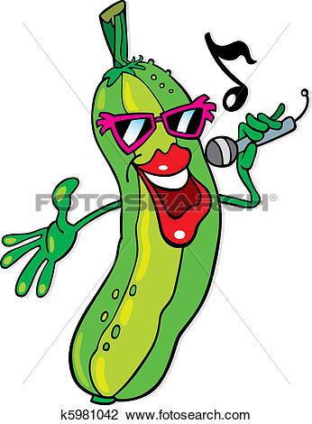Clipart of Singing cucumber k5981042.