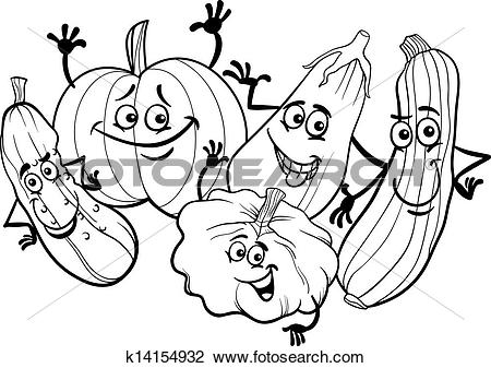 Clipart of cucurbit vegetables for coloring book k14154932.