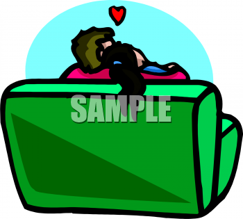 Valentine Clipart Picture of a Couple Cuddling on a Couch.