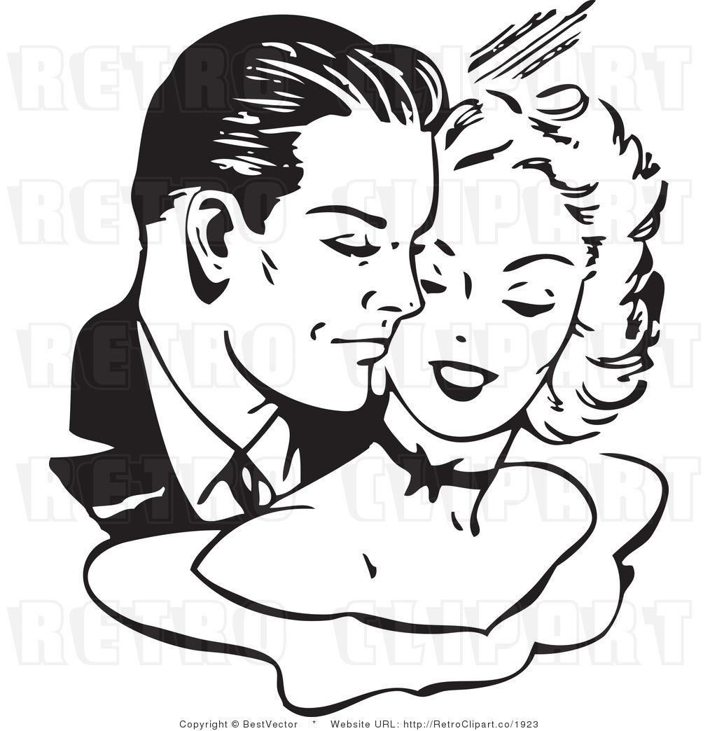 Free Black And White Retro Vector Clip Art Of A Couple Cuddling.
