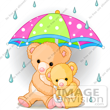 Clip Art Of A Baby Teddy Bear Cuddling With Its Mother Under An.