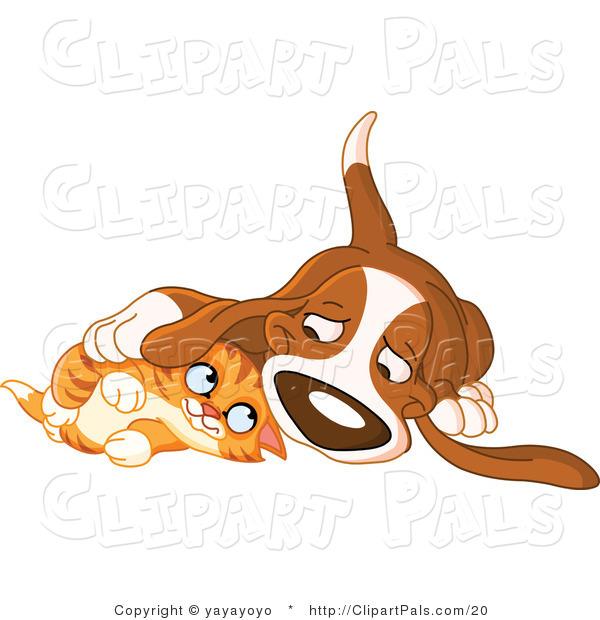 Cat cuddle clipart.